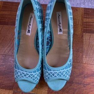 Light Blue Lace American Eagle Wedges